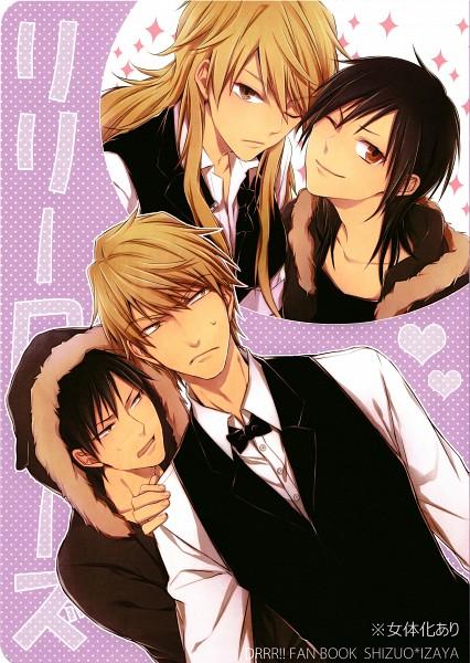 Tags: Anime, Pasta69, DURARARA!!, Heiwajima Shizuo, Orihara Izaya, Self Scanned, Scan, Fanart, Mobile Wallpaper, Doujinshi Cover, Shizaya