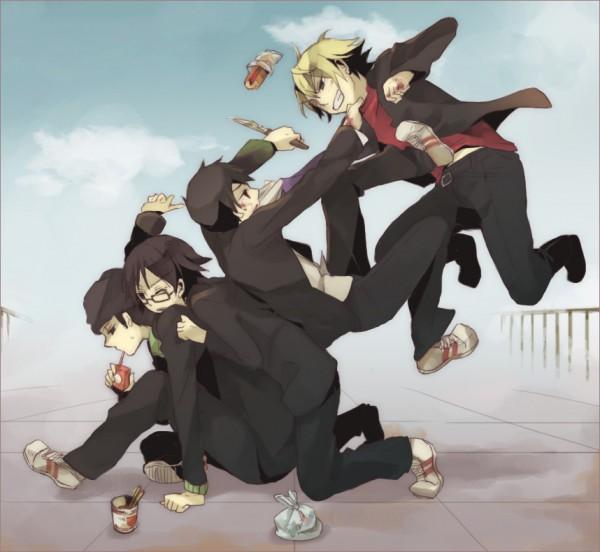 Tags: Anime, Yuzu (pixiv288987), DURARARA!!, Orihara Izaya, Kadota Kyouhei, Heiwajima Shizuo, Kishitani Shinra, Pixiv, Fanart, Raijin Days