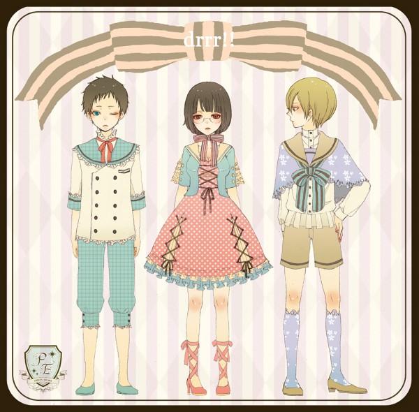 Tags: Anime, Pixiv Id 1213775, DURARARA!!, Ryuugamine Mikado, Sonohara Anri, Kida Masaomi, Kodona, Pixiv, Fanart