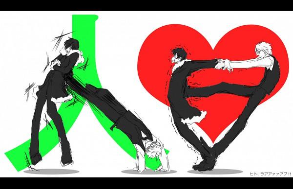 Tags: Anime, Divetoxx, DURARARA!!, Orihara Izaya, Heiwajima Shizuo, Character Symbol, Trembling, Pixiv, Fanart