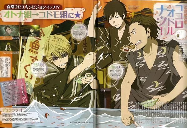 Tags: Anime, Brains Base (Studio), DURARARA!!, Kadota Kyouhei, Heiwajima Shizuo, Orihara Izaya, Official Art