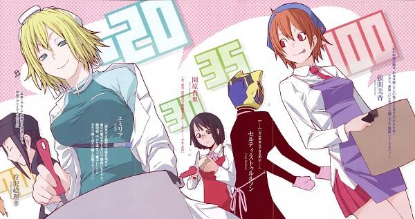 Tags: Anime, Suzuhito Yasuda, DURARARA!!, Kishitani Emilia, Sturluson Celty, Karisawa Erika, Sonohara Anri, Harima Mika, Scan, Wallpaper, Novel Illustration, Official Art