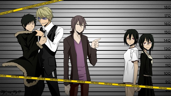 Tags: Anime, Crossingxboundaries, DURARARA!!, Orihara Izaya, Orihara Kururi, Heiwajima Kasuka, Orihara Mairu, Heiwajima Shizuo, Jail, Pixiv, Fanart, deviantART, Facebook Cover