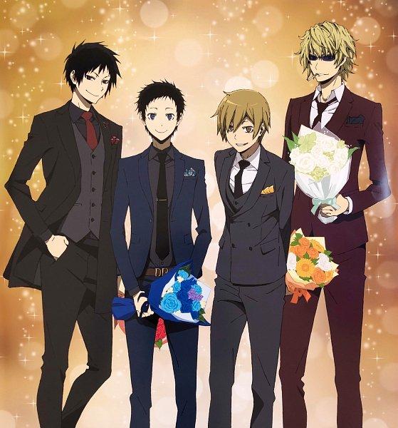Tags: Anime, DURARARA!!, Orihara Izaya, Ryuugamine Mikado, Heiwajima Shizuo, Kida Masaomi, Official Art