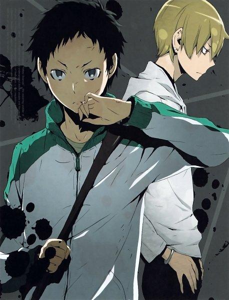 Tags: Anime, DURARARA!!, Ryuugamine Mikado, Kida Masaomi, Scan, Official Art, DVD (Source)