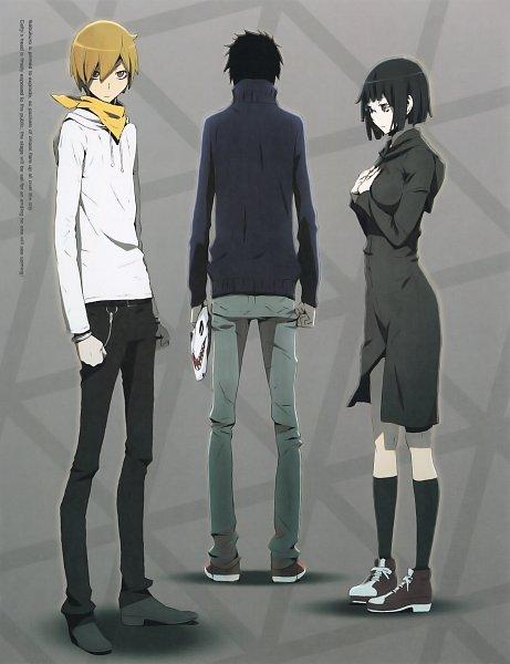 Tags: Anime, DURARARA!!, Ryuugamine Mikado, Sonohara Anri, Kida Masaomi, Official Art, Scan, DVD (Source)