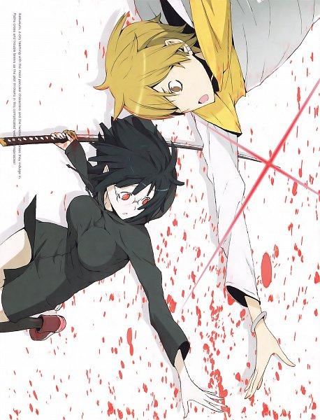Tags: Anime, DURARARA!!, Kida Masaomi, Sonohara Anri, Scan, Official Art, DVD (Source)