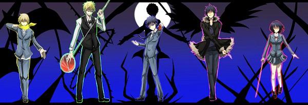 Tags: Anime, DURARARA!!, Orihara Izaya, Ryuugamine Mikado, Heiwajima Shizuo, Sonohara Anri, Kida Masaomi, Twitter Header, Pixiv