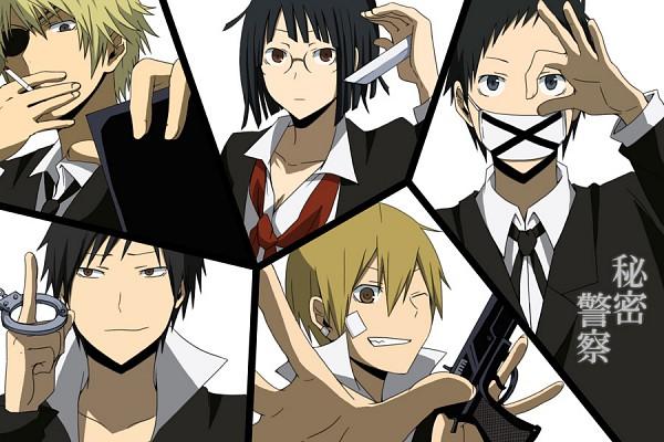 Tags: Anime, Sacchan (Hn0816), DURARARA!!, Ryuugamine Mikado, Heiwajima Shizuo, Sonohara Anri, Kida Masaomi, Orihara Izaya, Medical Mask, Himitsu Keisatsu