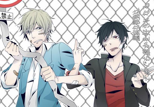 Tags: Anime, DURARARA!!, Heiwajima Shizuo, Orihara Izaya, Stop Sign, Raijin Days, Artist Request