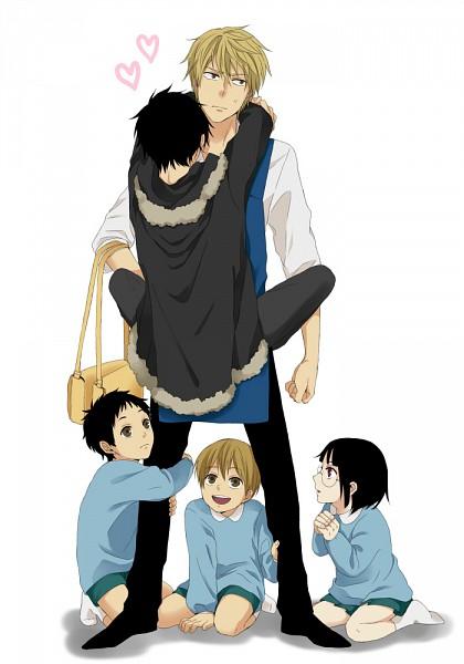 Tags: Anime, Sago (Artist), DURARARA!!, Orihara Izaya, Ryuugamine Mikado, Heiwajima Shizuo, Sonohara Anri, Kida Masaomi, Kindergarten Uniform, Mobile Wallpaper