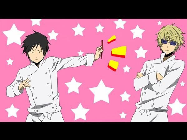 Tags: Anime, Sacchan (Hn0816), DURARARA!!, Heiwajima Shizuo, Orihara Izaya, Working!! (Parody), Souma Hiroomi (Cosplay), Satou Jun (Cosplay), Fanart, Pixiv