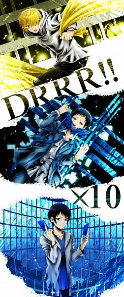 Tags: Anime, Wool (Kurokrkr), DURARARA!!, Kida Masaomi, Kuronuma Aoba, Ryuugamine Mikado, Pixiv, Fanart