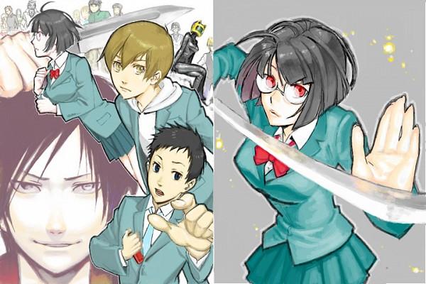 Tags: Anime, Pixiv Id 10597, DURARARA!!, Ryuugamine Mikado, Sonohara Anri, Kida Masaomi, Orihara Izaya, Pixiv, Fanart