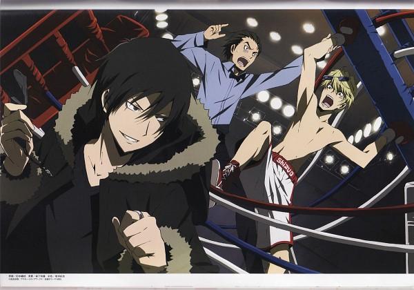 Tags: Anime, Brains Base (Studio), DURARARA!!, Kadota Kyouhei, Heiwajima Shizuo, Orihara Izaya, Boxing Gloves, Rivals, Scan, Official Art