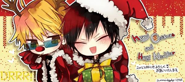 Tags: Anime, Y.tea, DURARARA!!, Orihara Izaya, Heiwajima Shizuo, Facebook Cover, Pixiv, Fanart