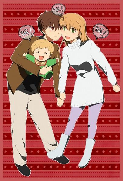 Tags: Anime, Natsuki Aisae, Daa! Daa! Daa!, Ruu (Daa! Daa! Daa!), Kouzuki Miyu, Saionji Kanata, Cheeks Together, Pixiv, Fanart, Fanart From Pixiv