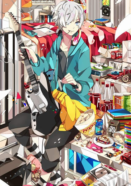 Tags: Anime, Daenarys, Bedroom, Messy Room, Jacket Around Waist, CD (Object), Chips, Canned Drink, Guitar Pick, Nintendo DS, Blue Hoodie, PlayStation Paddle, Can