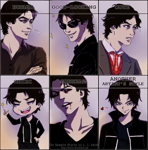 Tags: Anime, Bret13, The Vampire Diaries, Damon Salvatore, Red Sclera, deviantART, Fanart, Fanart From DeviantART