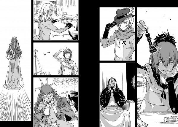 Tags: Anime, Haimura Kiyotaka, DanMachi Gaiden: Sword Oratoria, Dungeon ni Deai wo Motomeru no wa Machigatteiru no Darou ka, Hermes (DanMachi), Loki (DanMachi), Novel Illustration, Official Art, Character Request