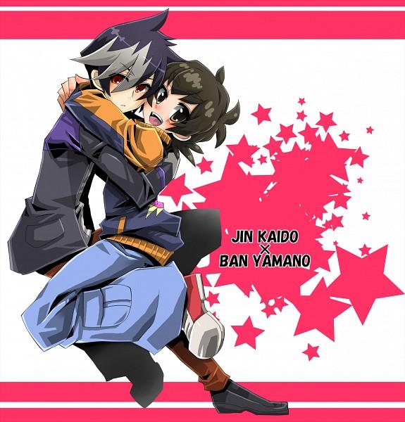 Tags: Anime, Pixiv Id 1127582, Level-5, Danball Senki, Kaidou Jin, Yamano Ban, Text: Couple Name, Fanart, Pixiv