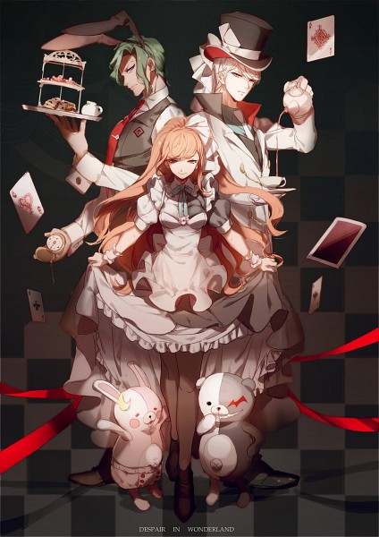 Tags: Anime, No-kan, Danganronpa 3: The End of Kibougamine Gakuen - Mirai-hen, Sakakura Juuzou, Munakata Kyousuke, Yukizome Chisa, Monokuma, Monomi (Super Danganronpa 2), Alice (Alice in Wonderland) (Cosplay), Alice in Wonderland (Parody), Mad Hatter (Cosplay), White Rabbit (Cosplay), Fanart