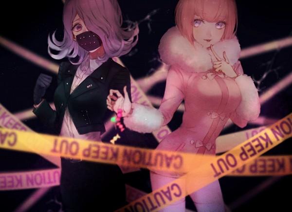 Tags: Anime, Yukifuru01, Danganronpa 3: The End of Kibougamine Gakuen - Mirai-hen, Andou Ruruka, Kimura Seiko, Medical Mask, Bonbon, Crime Scene Tape, Fanart, Twitter