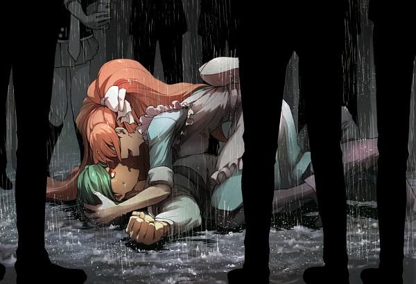 Tags: Anime, Pixiv Id 1608609, Danganronpa 3: The End of Kibougamine Gakuen - Zetsubou-hen, Sakakura Juuzou, Enoshima Junko, Yukizome Chisa, Fanart, Fanart From Pixiv, PNG Conversion, Pixiv