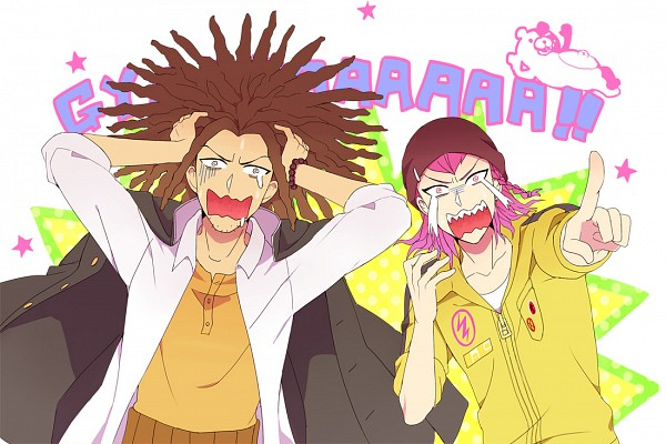 Tags: Anime, Sennai, Super Danganronpa 2, Danganronpa, Monokuma, Souda Kazuichi, Hagakure Yasuhiro, Wallpaper, Fanart From Pixiv, Fanart, Pixiv