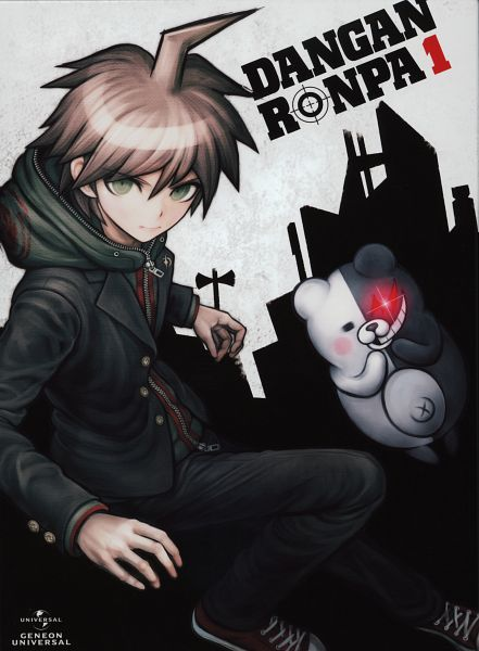 Tags: Anime, Komatsuzaki Rui, Lerche, Danganronpa, Naegi Makoto, Monokuma, DVD (Source), Official Art, Scan