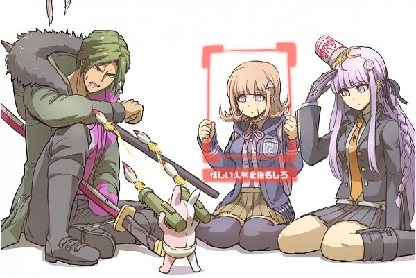 Tags: Anime, Pixiv Id 1608609, Danganronpa 3: The End of Kibougamine Gakuen - Zetsubou-hen, Danganronpa 3: The End of Kibougamine Gakuen - Mirai-hen, Super Danganronpa 2, Danganronpa, Sakakura Juuzou, Monomi (Super Danganronpa 2), Kirigiri Kyouko, Nanami Chiaki, Food On Head, Object On Head, Pixiv