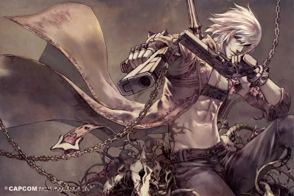 Tags: Anime, Virus Ac74, Capcom, Devil May Cry 3, Devil May Cry, Dante, Dual Guns, Aiming At Camera, Official Art, Revision, deviantART, Pixiv