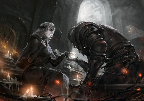 Tags: Anime, Alcd, Dark Souls, Dark Souls III, Protagonist (Dark Souls), Fire Keeper, Bowing, Archway, Pixiv, Fanart From Pixiv, Fanart