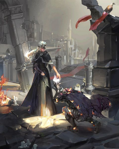 Tags: Anime, Pixiv Id 3325698, Dark Souls, Dark Souls III, Protagonist (Dark Souls), Fire Keeper, Bowing, Pixiv, Fanart, Fanart From Pixiv