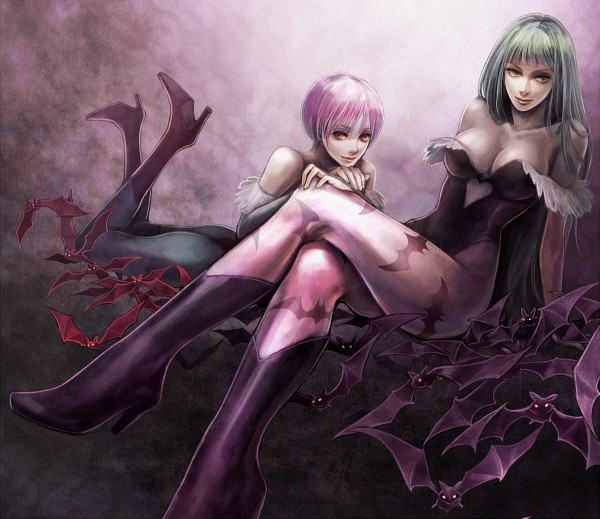 Tags: Anime, Tetra Takamine, Darkstalkers, Morrigan Aensland, Lilith Aensland, Heart Cleavage Cutout, Bat Print, Fanart, Pixiv