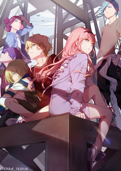 Tags: Anime, Chenaze57, Darling in the FranXX, 9'ε, Zero Two (Darling in the FranXX), 9'γ, 9'β, 9'δ, 9'α, Brown Shirt, Pixiv, Fanart, Fanart From Pixiv