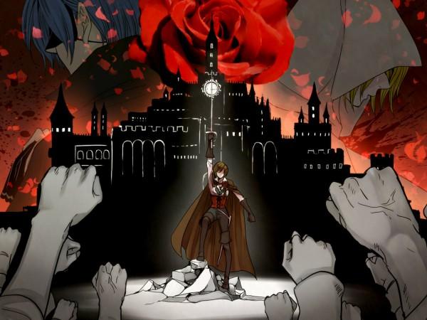 Tags: Anime, Suzunosuke, VOCALOID, MEIKO (VOCALOID), KAITO, Kagamine Rin, Daughter of White, Wallpaper, Story of Evil, Akuno-p