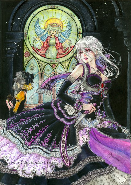 Tags: Anime, Hisekai, VOCALOID, Yowane Haku, Kagamine Rin, Hatsune Miku, Story of Evil, Daughter of White, deviantART, Mobile Wallpaper, Traditional Media, Akuno-p, Pixiv