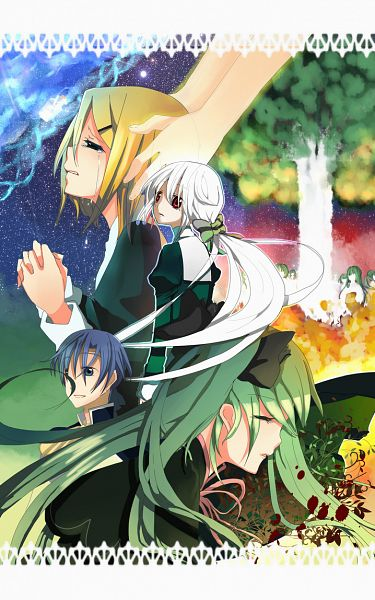 Tags: Anime, Hurateco, VOCALOID, Hatsune Miku, Yowane Haku, KAITO, Kagamine Rin, Akuno-p, Fanart, Daughter of White, Mobile Wallpaper, Pixiv, Story of Evil