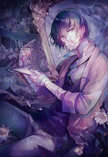 Tags: Anime, Pixiv Id 6192606, Bungou Stray Dogs, Dazai Osamu, Bandaged Neck, Flower In Mouth, Fanart, Mobile Wallpaper, Fanart From Pixiv, Pixiv