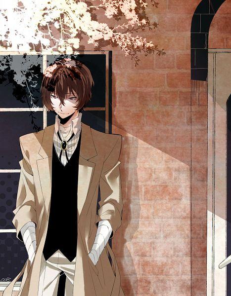 Tags: Anime, Four-kunn, Bungou Stray Dogs, Dazai Osamu, Brick Wall, Bandaged Neck, Pixiv, Fanart, Fanart From Pixiv, PNG Conversion