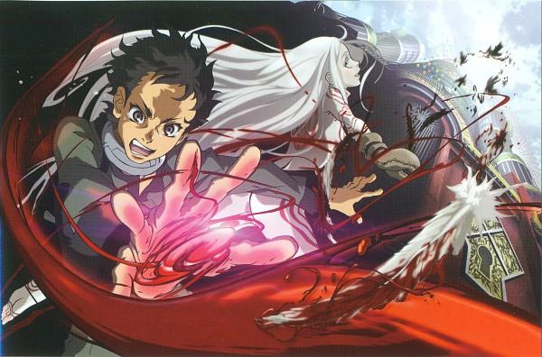 Tags: Anime, manglobe, Deadman Wonderland, Igarashi Ganta, Shiro (Deadman Wonderland), Ganta Gun, Branch of Sin, Scifi Collar, Scan, Artist Request, Official Art, Deadman