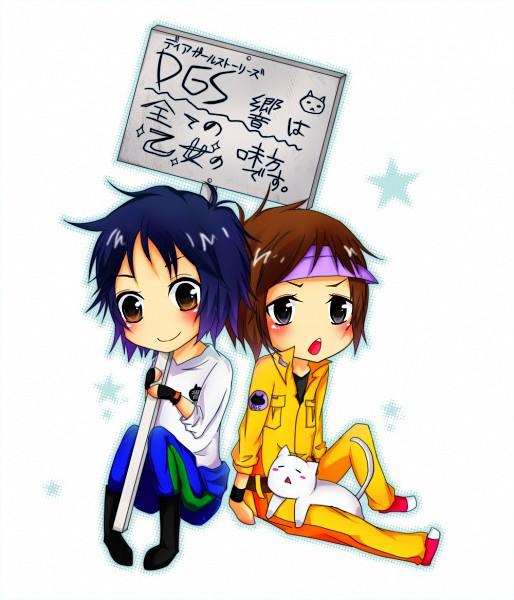 Tags: Anime, Pixiv Id 827455, Dear Girl ~stories~, Dear Girl - Stories - Hibiki, Ono Daisuke (Character), Kamiya Hiroshi (Character), Hiro C, Ono D, Sign Board, Pixiv, Fanart