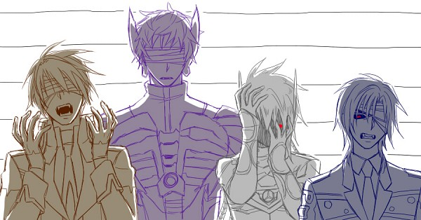 Tags: Anime, Transformers, Shockwave, Barricade (Transformers), Starscream, Soundwave (Transformers), Mecha (Personification), Covering Face, Pixiv, Facebook Cover, Decepticons