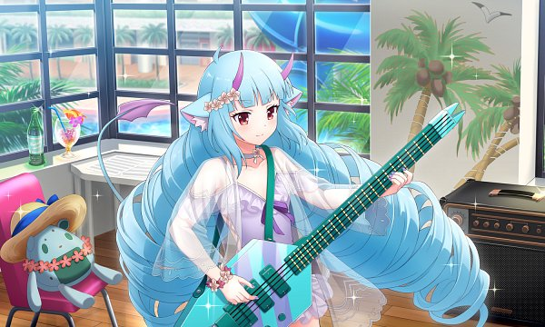 Tags: Anime, Show by Rock!! Mashumairesh!!, Show By Rock!! Fes A Live, Delmin, Playing Guitar, Official Card Illustration, Official Art