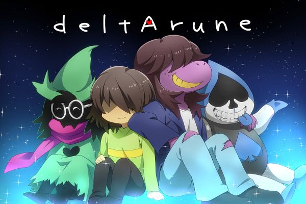 Tags: Anime, Pixiv Id 3050310, Deltarune, Ralsei, Kris (Deltarune), Susie (Deltarune), Lancer (Deltarune), Purple Skin, Unusual Colored Tongue, Fanart From Pixiv, Pixiv, Fanart