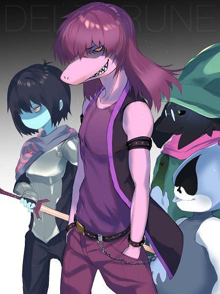 Tags: Anime, Pixiv Id 15265080, Deltarune, Lancer (Deltarune), Ralsei, Kris (Deltarune), Susie (Deltarune), Unusual Colored Tongue, Mouthless, Unnaturally Black Skin, Pixiv, Fanart, Fanart From Pixiv