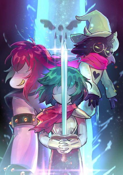 Tags: Anime, Sagta, Deltarune, Kris (Deltarune), Susie (Deltarune), Ralsei, Faceless, Glowing Weapons, Fanart From Pixiv, Pixiv, Fanart