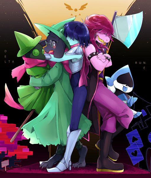 Tags: Anime, Pixiv Id 259841, Deltarune, Kris (Deltarune), Susie (Deltarune), Lancer (Deltarune), Ralsei, Pink Skin, Aqua Skin, Pixiv, Fanart, Fanart From Pixiv