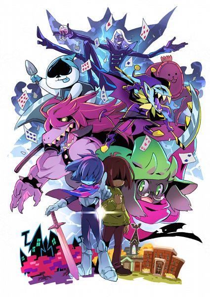 Tags: Anime, Pixiv Id 20747286, Deltarune, Ralsei, Jevil, Rouxls Kaard, Kris (Deltarune), Susie (Deltarune), Lancer (Deltarune), Jester Hat, Pointing at Camera, Aqua Sk, Fanart From Pixiv